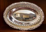 Sale 8270 - Lot 61 - ep tray, W Excellent quality Hecworth silverplate oval bread bowl with pierced rim and heavily embossed border, W 31cm