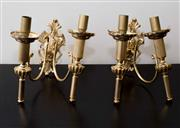 Sale 8310A - Lot 13 - A pair of brass wall sconces. Height without glass 25cm