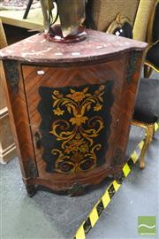Sale 8328 - Lot 1034 - Pair of Marble Top Inlaid Corner Cabinets