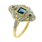 Sale 8373 - Lot 393 - A DECO STYLE 9CT GOLD RING; set with blue sapphires and round brilliant cut diamonds, size O.