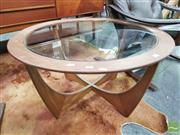 Sale 8409 - Lot 1019 - Round G-Plan Atmos Coffee Table with Glass Top