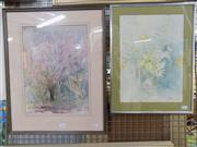 Sale 8563T - Lot 2209 - 2 Works: H Harry, Still Life and Blossom Tree, Watercolours, each approx 35 x 28cm, each signed lower