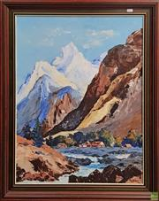 Sale 8595 - Lot 2052 - Artist Unknown - Mountain Scene, oil on canvas, 70 x 55cm, signed Taylor lower right