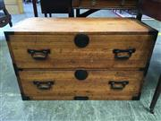 Sale 8666 - Lot 1068 - Japanese Pine Part Tansu Chest, of two drawers with iron mounts