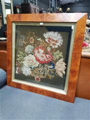 Sale 8848 - Lot 1021 - 19th Century Tasmanian Huon Pine Frame, with contemporary needlework panel of a basket flowers including tulip and carnations