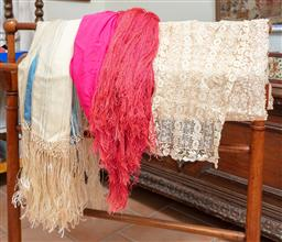 Sale 9120H - Lot 340 - A group of neckwears to include two silk shawls and two crocheted pieces.
