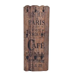 Sale 9140F - Lot 48 - A fruitwood wall panel with black hooks & French writing. Dimensions: W38 x D12 x H100 cm