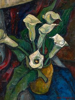 Sale 9252A - Lot 5061 - INA MANSCH Calla Lillies oil on board 54 x 41 cm (frame: 61 x 48 x 2 cm) signed lower left