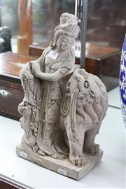 Sale 8100 - Lot 18 - Guanyin Figure with Beast