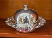 Sale 8270 - Lot 62 - Excellent quality Stokes silverplate muffin dish with bold grape & vine border and separate liner, D 21cm
