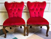 Sale 8577 - Lot 3 - A pair of vintage Italian red velvet buton backparlour chairs, in good condition with some minor scuffs, W 53 x D 60cm x overall hei...