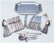 Sale 8593A - Lot 78 - A monogrammed silver plated cutlery service, together with an EP hexagonal serving tray
