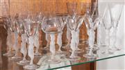 Sale 8590A - Lot 28 - A small group of Lalique style glassware with frosted lady stems, including champagne, sherry, etc, (19 total)