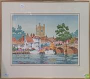 Sale 8600 - Lot 2054 - J. Moia - Europe in the Summer, watercolour, 32 x 44.5cm, signed lower right