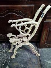 Sale 8653 - Lot 1055 - Pair of Victorian Cast Iron Garden Bench Ends, of branch form, painted white