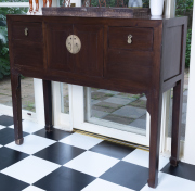 Sale 8677B - Lot 825 - A Chinese sideboard of two doors and two drawers H x 103cm, W x 123cm, D x 40cm
