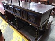 Sale 8774 - Lot 1094 - 17th Century Style Oak Dresser Base, with two panelled and inlaid drawers, on pierced barley twist supports with stretchers. Lengt...