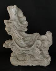 Sale 9015G - Lot 23 - Early Hand Carved Stone Guan Yin Floating Cloud Statue .Size 54cm H x 46cm Widest Aged, Slight Chipping
