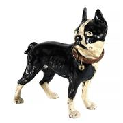 Sale 9040H - Lot 69 - An antique Bulldog / terrier cast iron statue with leather collar door stop, H 25cm
