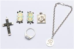 Sale 9144 - Lot 174 - A small collection of sterling silver items including R initialled bracelet,