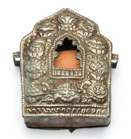 Sale 9164 - Lot 515 - Tibetan Chased Metal Travelling Shrine with Figure & Scripture Enclosed