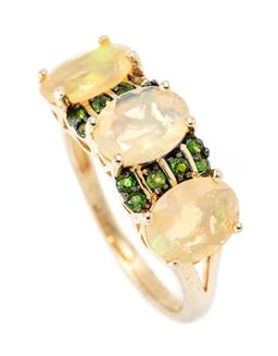 Sale 9213 - Lot 303 - AN OPAL AND GEMSET RING; set across the top with 3 oval cut Ethiopian opals and small round cut zircons in silver gilt, size L, widt...