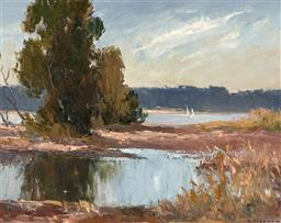 Sale 9252A - Lot 5080 - MOLLIE FLAXMAN (1912 - 2004) Narrabeen Lake Reflections oil on canvas board 28 x 35.5 cm (frame: 43 x 51 x 3 cm) signed lower right,...