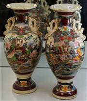 Sale 7969 - Lot 10 - Pair of Japanese Vases with Figures and Flowers 1 restored