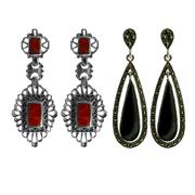 Sale 8173F - Lot 379 - TWO PAIRS OF SILVER MARCASITE EARRINGS; set with ornamentals and resin.