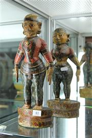 Sale 8195 - Lot 41 - Indian Painted Timber Figures of a Lady & Gent