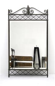 Sale 8216A - Lot 23 - Twenties mirror, forged iron frame with bevelled edge mirror, W 70 x H 103cm, RRP $990.00