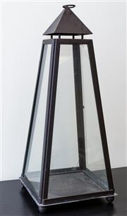 Sale 8310A - Lot 15 - A tapered four sided metal framed lantern (small crack to one glass panel) height 84cm