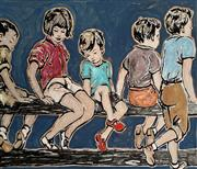 Sale 8695A - Lot 5041 - David Bromley (1960 - ) - Sitting on the Fence 88.5 x 100cm