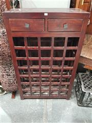 Sale 8745 - Lot 1061 - Timber Wine Rack with Two Drawers