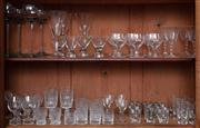Sale 8815A - Lot 33 - Two shelf lots of glassware including shot glasses, sherry glasses, pale blue hock glasses