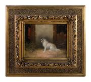 Sale 9040H - Lot 36 - Langlois - C19th British School Terrier in a Barn 20 x 25cm