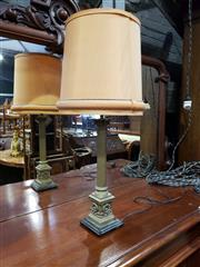 Sale 9048 - Lot 1072 - Brass Column Form Table Lamp With Marble Base (H74cm)