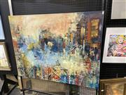 Sale 9069 - Lot 2021 - Wendy Hope The City with a Difference, Harbour Panorama acrylic on canvas , 91 x 120cm, signed lower right -
