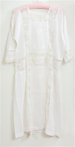 Sale 9120H - Lot 342 - A vintage needlepoint ivory night gown.