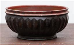 Sale 9160H - Lot 96 - A carved fluted and lacquered bowl, Height 12cm x Diameter 27cm