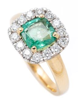 Sale 9177 - Lot 343 - A 18CT GOLD GEORGIAN STYLE EMERALD AND DIAMOND RING; centring a square cushion cut emerald of approx. 1.00ct surrounded by 14 round...
