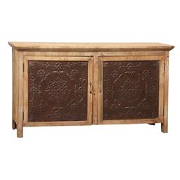 Sale 9216S - Lot 63 - A timber two door sideboard with pressed tin panels to doors, Height 92cm x Width 165cm x Depth 44cm