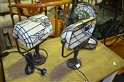 Sale 8093 - Lot 1299 - 3 Leadlight Shade Table Lamps