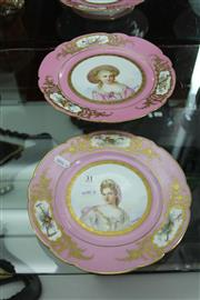 Sale 8116 - Lot 31 - Sevres Style Cake Stand & Plate Painted with Portraits