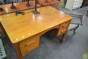 Sale 8257 - Lot 1035 - Maple Desk with four drawers