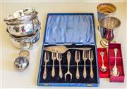 Sale 8259A - Lot 24 - A Selection of Various Silver Plate, including various bowls, Prouds cake set, napkin rings, and more
