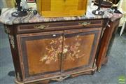 Sale 8328 - Lot 1043 - Marble Top Hall Cabinet with Inlaid Doors