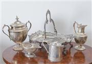 Sale 8470H - Lot 34 - A small group of engraved EP wares including matching sugar and milk, on a pierced tray