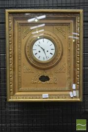 Sale 8520 - Lot 1066 - Austro-Hungarian Biedermeier Gilt Picture Frame Wall Clock, with white enamel dial & silk suspension pendulum with pierced brass bob
