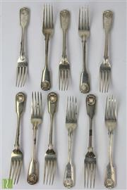 Sale 8533 - Lot 2 - Assembled Set 11 Victorian Sterling Silver Fiddle Shell & Thread Entrée Forks